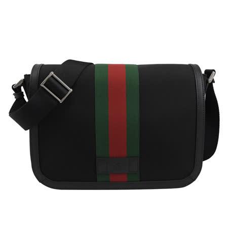 GUCCI 630921 經典綠紅綠織帶帆布翻蓋斜背包.黑