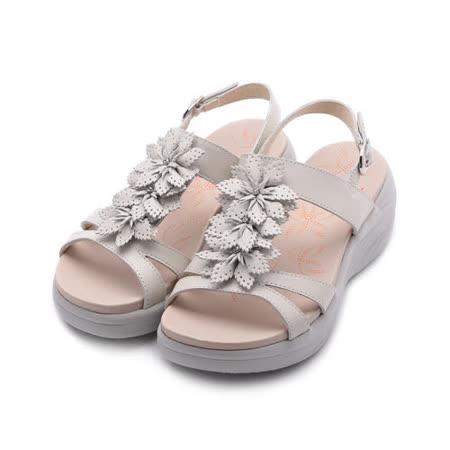 LUZZI  牛皮鑽葉厚底涼鞋