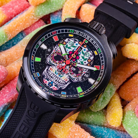 BOMBERG 炸彈錶 糖果骷髏計時手錶
