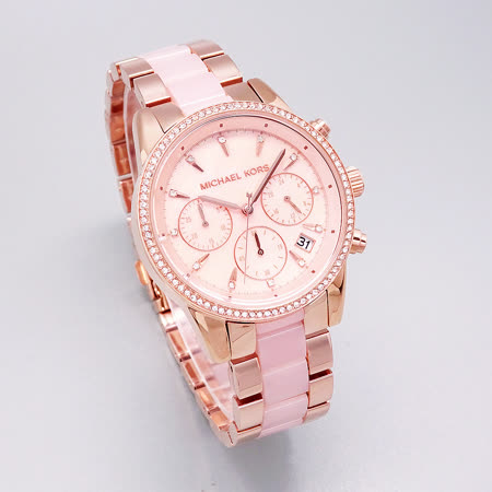 Michael Kors 超時代巨星降臨晶鑽三眼計時優質腕錶-粉紅+玫瑰金-MK6769