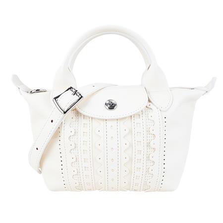 LONGCHAMP 英式刺繡小羊皮兩用包