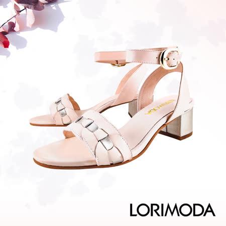 LORIMODA義大利 牛真皮編織中跟涼鞋