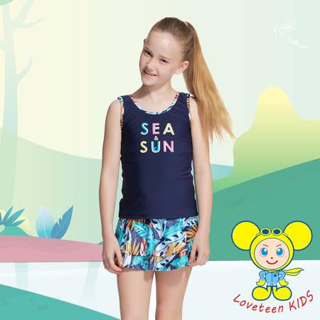 夏之戀SUMMER LOVE小女長版二件式泳衣K21603