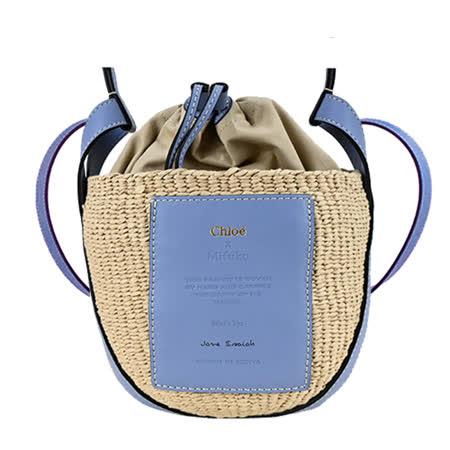 Chloe 皮革草編束口水桶包