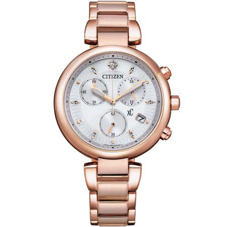 CITIZEN 星辰 xC 亞洲限定款光動能三眼計時淑女腕錶