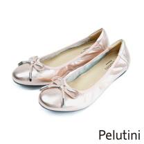 【Pelutini】平底亮面休閒包鞋 玫瑰金(1648W-ROGO)
