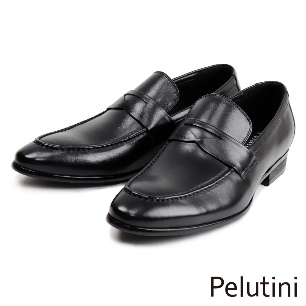 【Pelutini】經典英倫風便士樂福鞋 黑色(1753-BL)