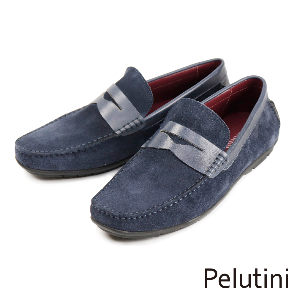 【Pelutini】質感麂皮便士樂福鞋 海軍藍(1758-NAS)