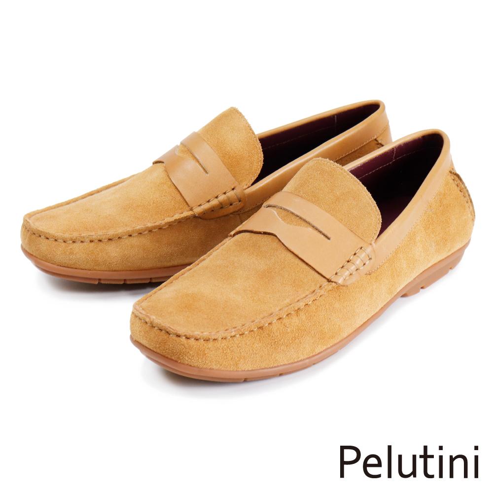 【Pelutini】質感麂皮便士樂福鞋 土黃色(1758-TANS)