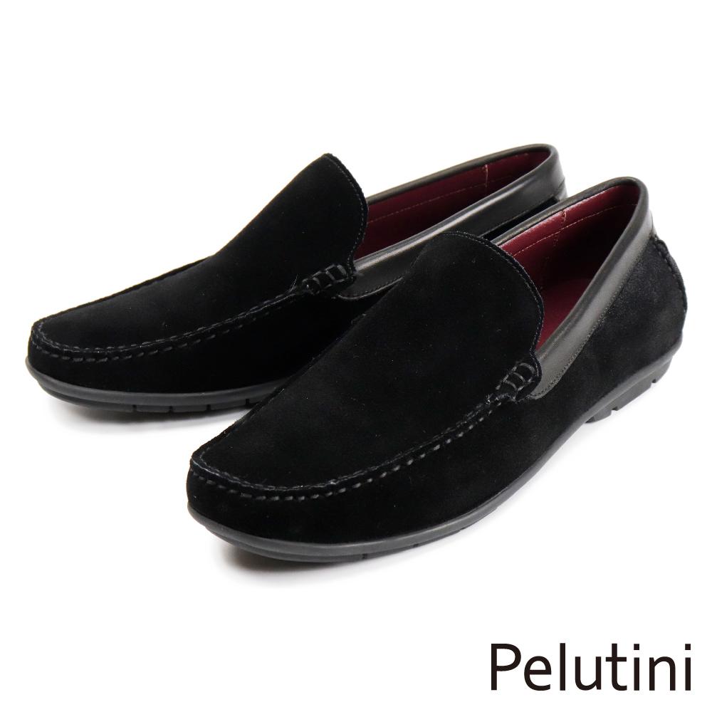 【Pelutini】素面麂皮休閒樂福鞋 黑色(1760-BLS)