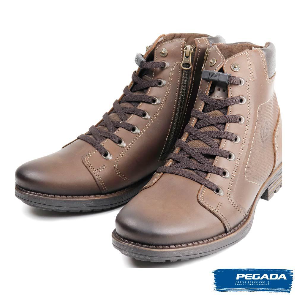【PEGADA】巴西潮流刷色牛皮中筒靴 深棕色(180743-DBR)