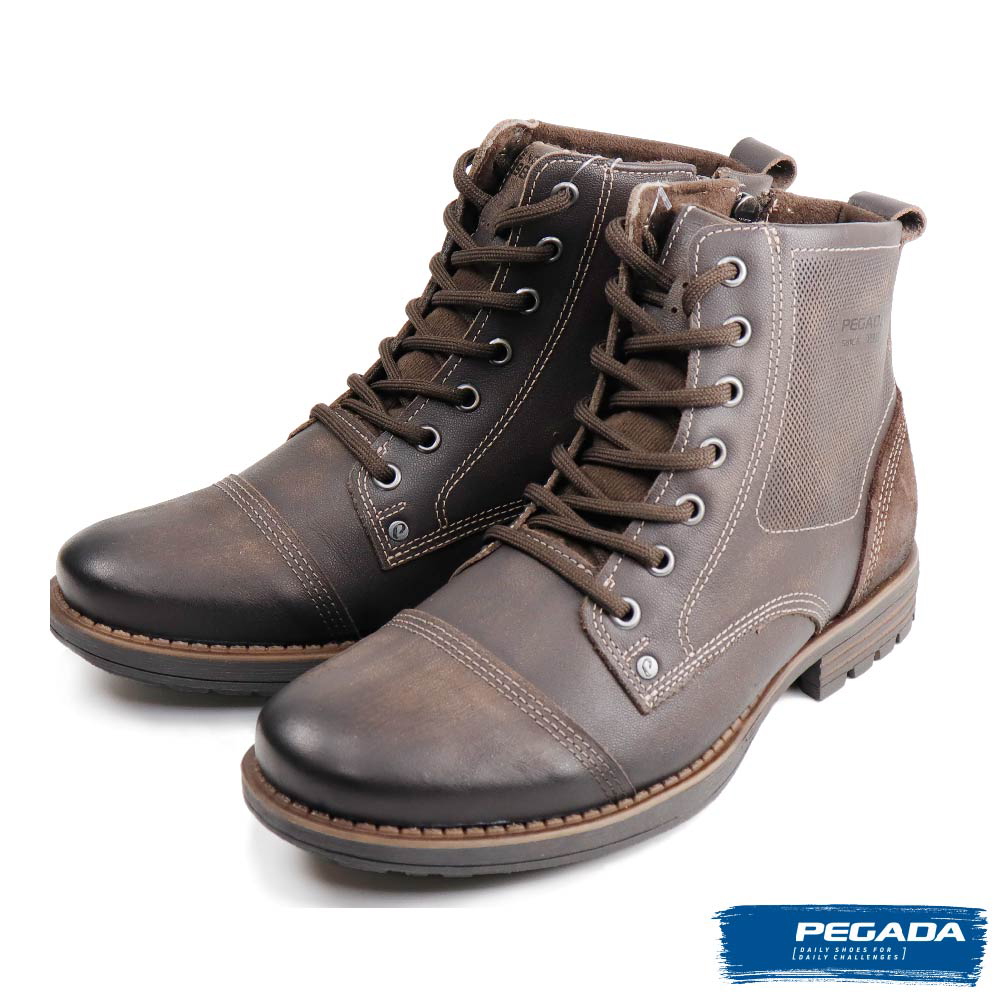 【PEGADA】經典百搭刷色牛皮中筒靴 深棕色(180744-DBR)