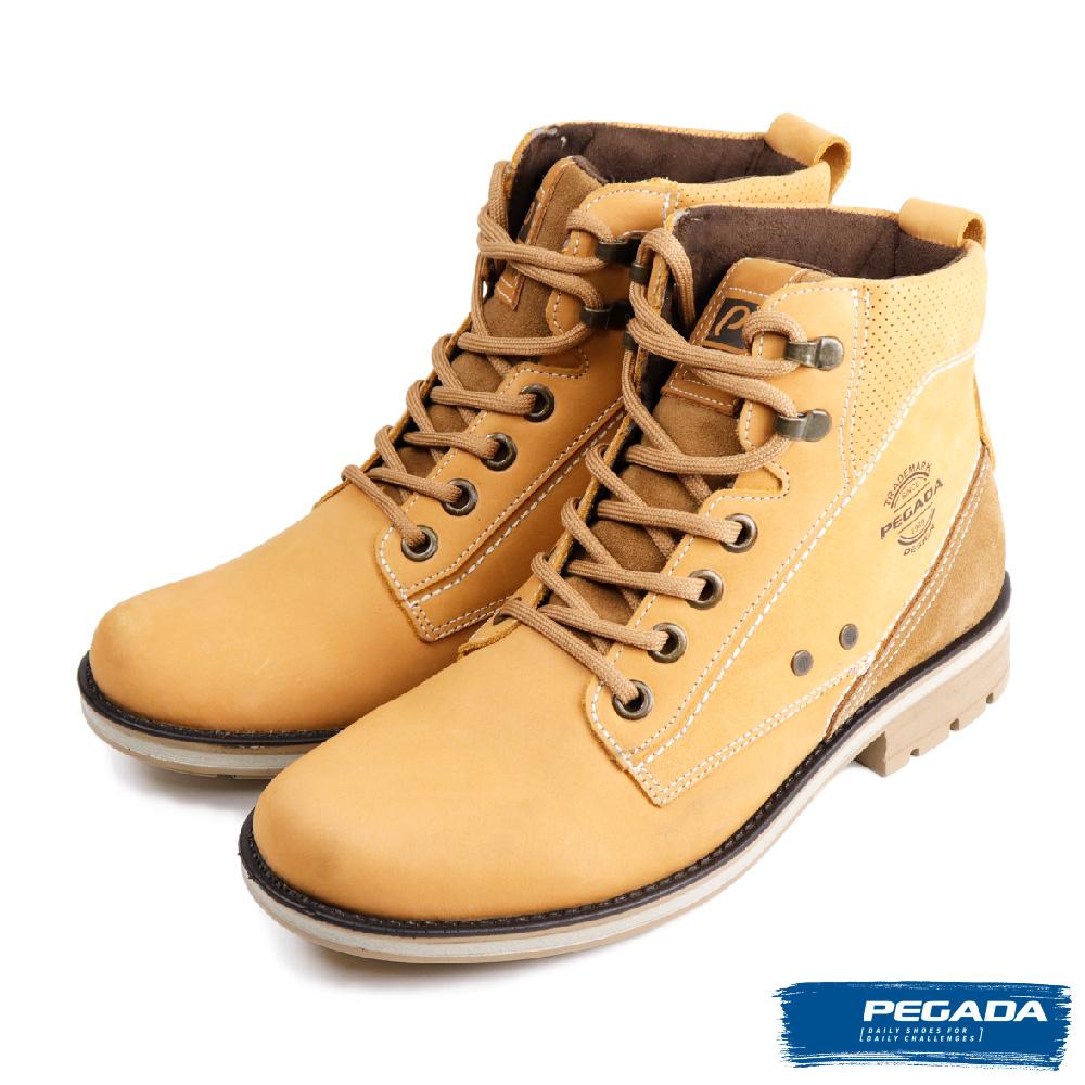 【PEGADA】巴西經典風格牛皮中筒靴 土黃色(181301-TAN)