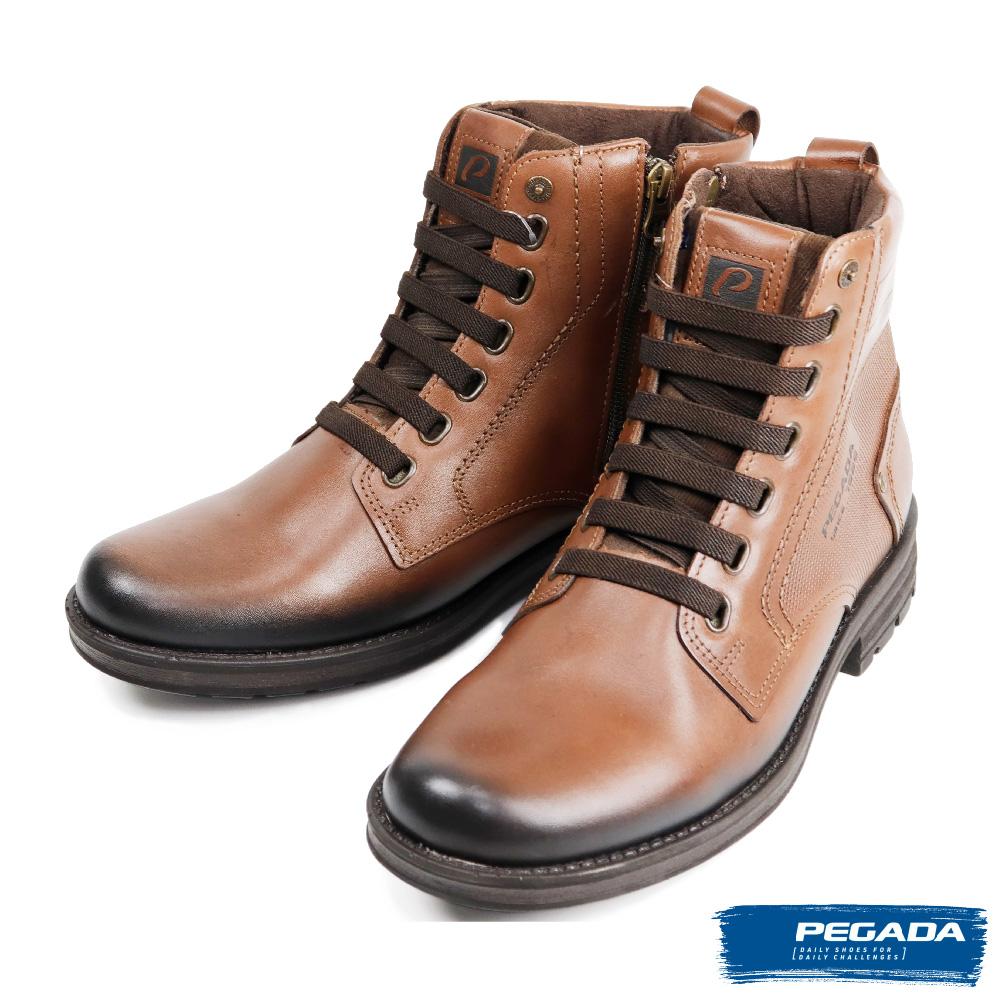 【PEGADA】經典時尚亮面真皮中筒靴 棕色(181302-BR)