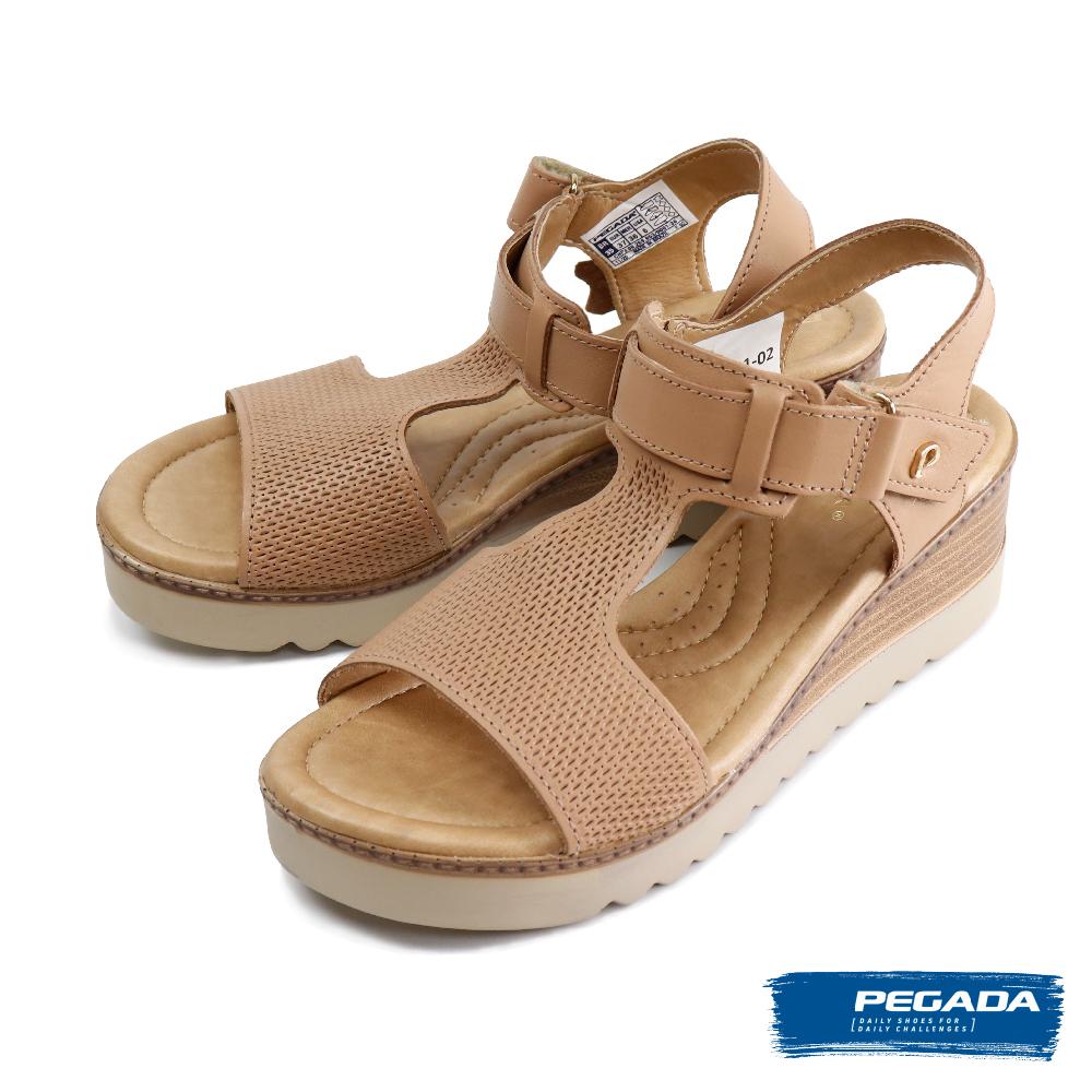 【PEGADA】魔鬼氈可調式厚底涼鞋 玫瑰金(232521-PELE)
