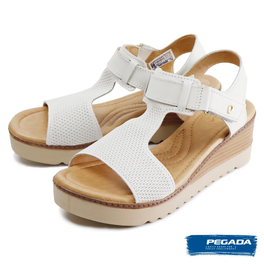 【PEGADA】魔鬼氈可調式厚底涼鞋 白色(232521-WH)