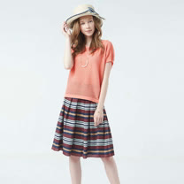 AZUR 優雅時尚條紋寬褶裙