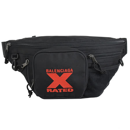 BALENCIAGA X RATED 帆布胸口包/腰包.黑
