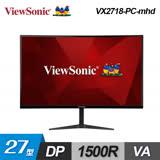 ViewSonic 27型 VX2718-PC-mhd 165Hz 1500R曲面電競顯示器 喇叭螢幕