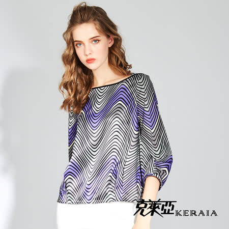 【KERAIA 克萊亞】抽象畫作幾何線條上衣