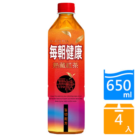 每朝健康無糖紅茶650mlx4入