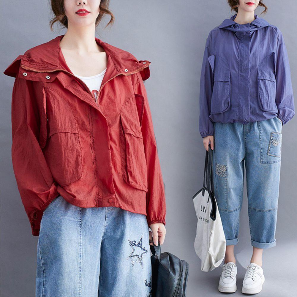 【Maya 名媛】貼布口袋寬鬆長袖連帽四季百搭外套-2色