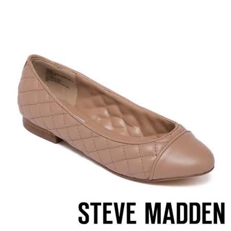 STEVE MADDEN 拼接菱格紋皮質平底女鞋
