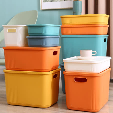 居家收納可疊加 撞色收納箱6入組