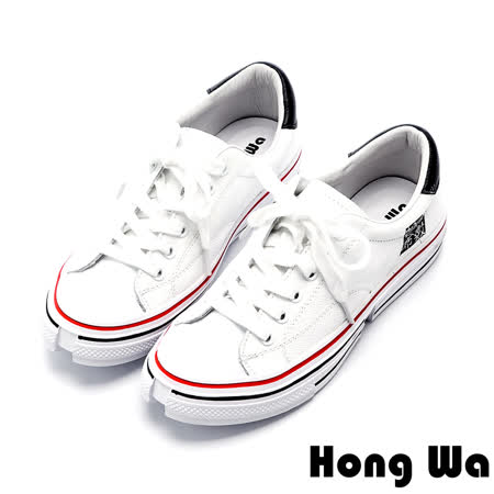 Hong Wa  極簡風格綁帶牛皮休閒鞋