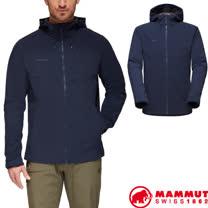 【瑞士 MAMMUT 長毛象】男款 Sapuen SO Hooded 超輕量防潑水防風透氣軟殼連帽外套/1011-01050-5118 海洋藍