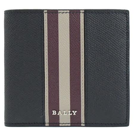 BALLY 6235589 BRASAI撞色條紋防刮牛皮8卡短夾.藍/紫紅