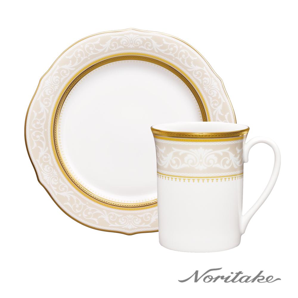 【日本Noritake】皇家花園 金邊 一個人的優雅(馬克杯+展示盤)