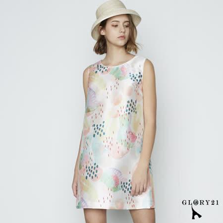 GLORY21 粉彩拓印塊點圖繪無袖洋裝(白色)