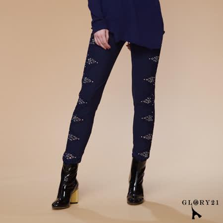 GLORY21  繡花蕾絲貼鑽彈性內搭長褲