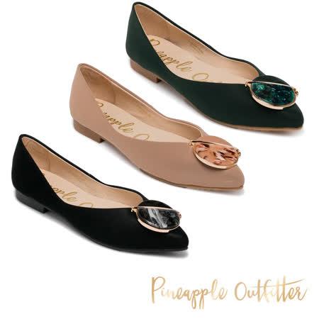 Pineapple Outfitter 真皮飾釦尖頭娃娃鞋