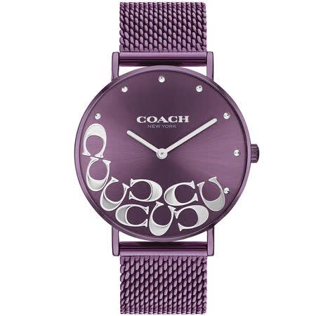 COACH 紫色面盤logo米蘭帶女用腕錶36mm/14503823