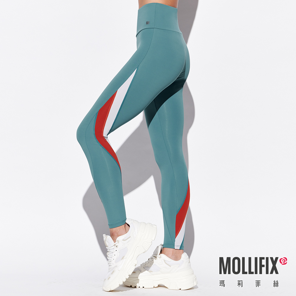 MOLLIFIX 瑪莉菲絲 不對稱切割撞色全長褲  (草木綠)