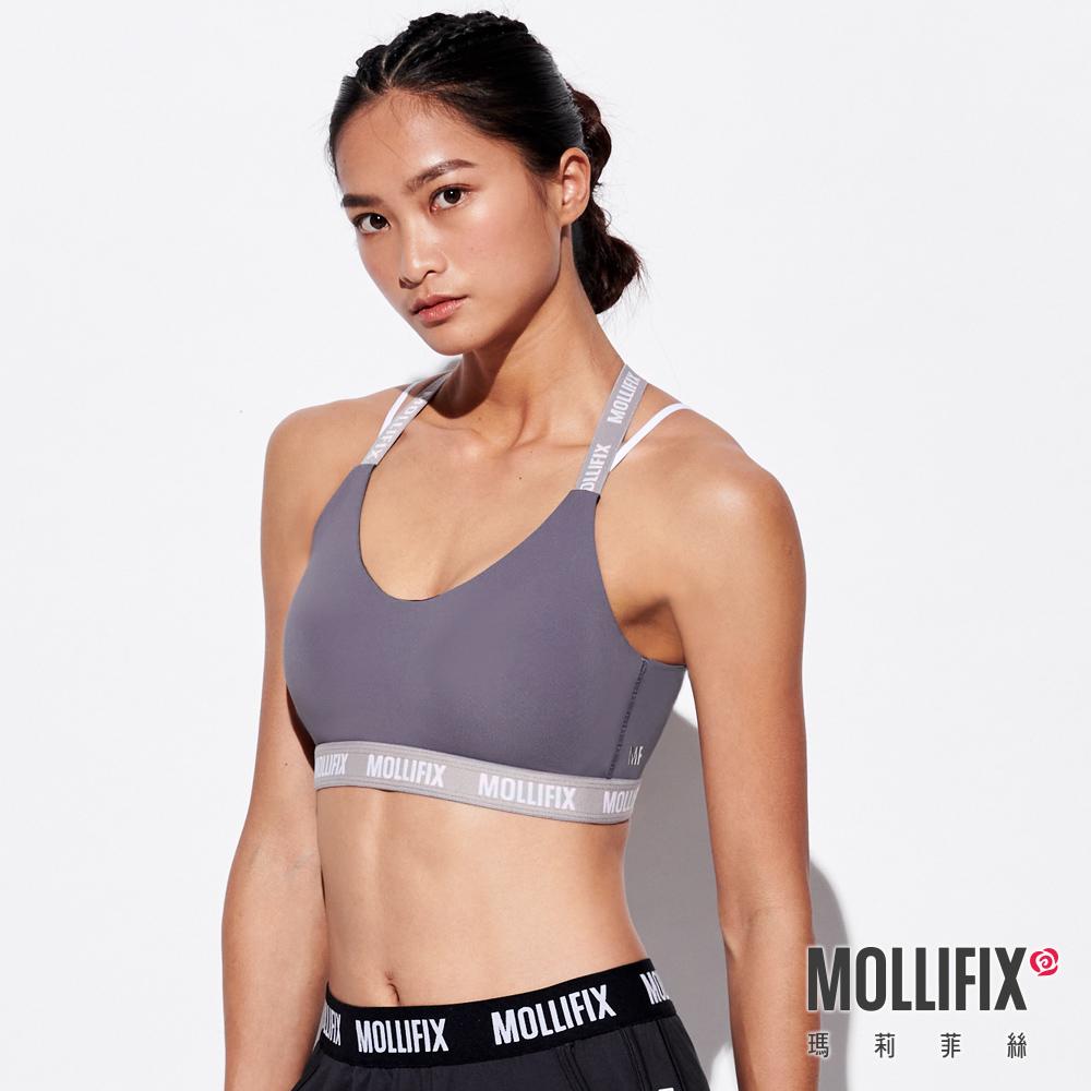 MOLLIFIX 瑪莉菲絲 3D防震交錯肩帶運動內衣 (日暮灰)