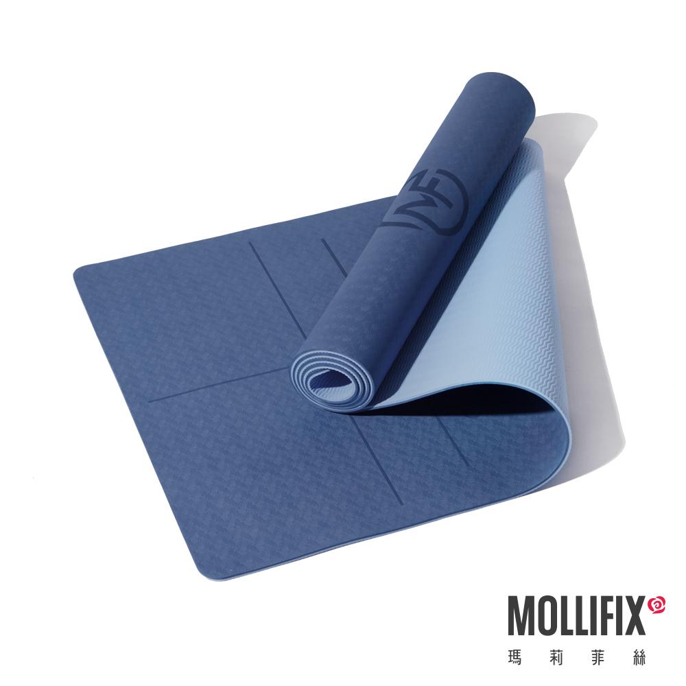 MOLLIFIX 瑪莉菲絲 雙色體位線輔助瑜珈墊 6MM (深藍灰)