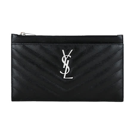 YSL MONOGRAM V字縫線魚子醬牛皮大手拿包(黑/銀)