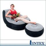 INTEX《懶骨頭》單人充氣沙發椅-附腳椅(灰色) (68564)