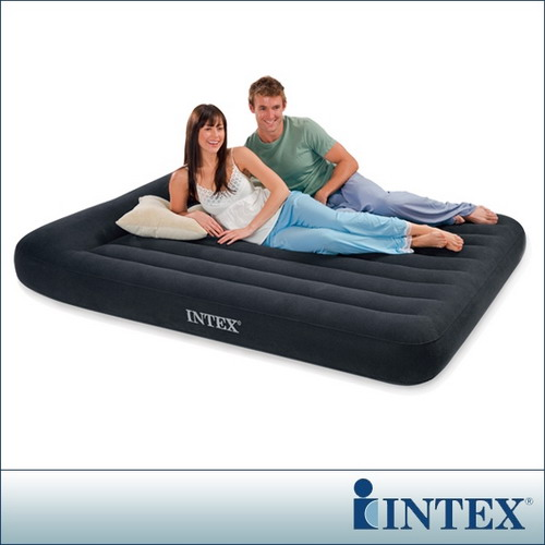 【INTEX】舒適型-雙人加大植絨充氣床墊(寬152cm)-有頭枕 (66769)