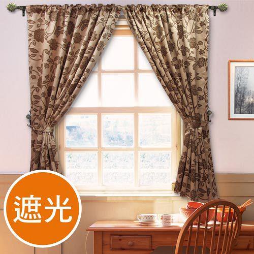 棉花田【法爾】印花仿麂皮穿掛兩用遮光窗簾-(270x165cm)