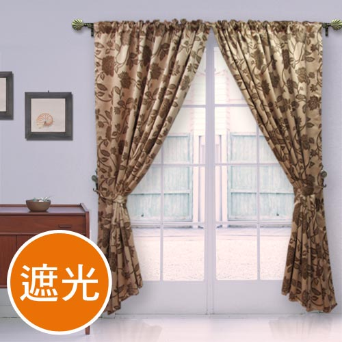 棉花田【法爾】印花仿麂皮穿掛兩用遮光窗簾-(270x230cm)
