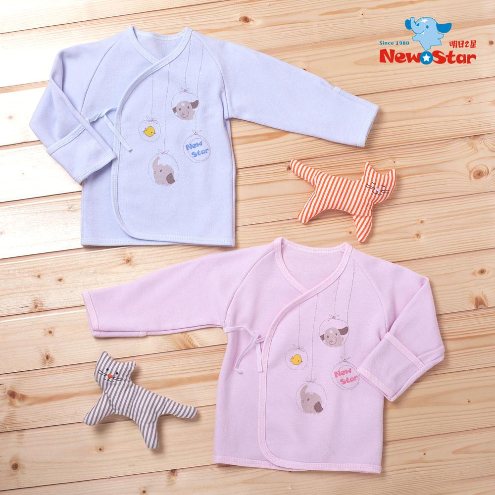 【聖哥-Newstar】MIT厚新生兒長袖肚衣上衣-可愛貓頭鷹-100%純棉-藍-粉-袖口反摺-綁帶設計-0~6個月