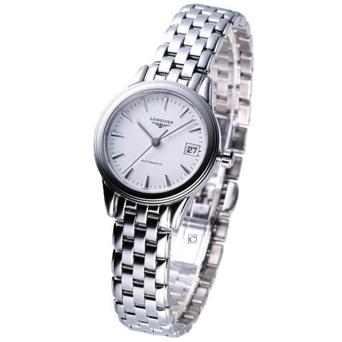 LONGINES 旗艦系列 女用自動機械腕錶 白面L42744126