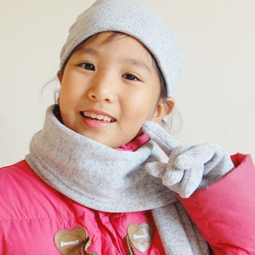 【CoFeel酷咖絨】咖啡混紡兒童時尚保暖圍巾_灰色