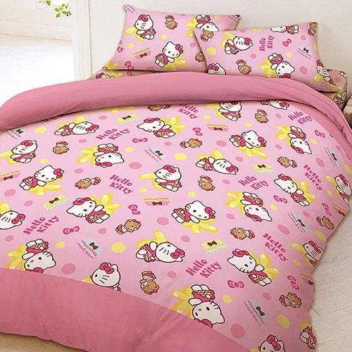 【享夢城堡】雙人床包兩用被套四件式組-HELLO KITTY MY屁屁-粉