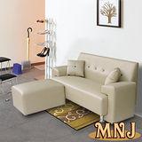 MNJ-巧克力牛奶L型獨立筒沙發184cm(卡其)加送抱枕*2