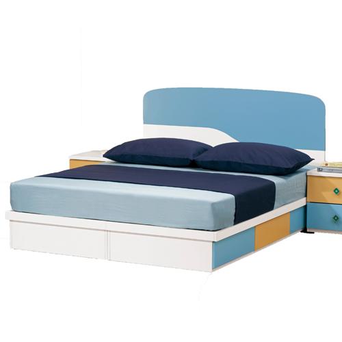【優利亞-藍色天地】5尺雙人床頭片+抽屜床座(不含床墊)